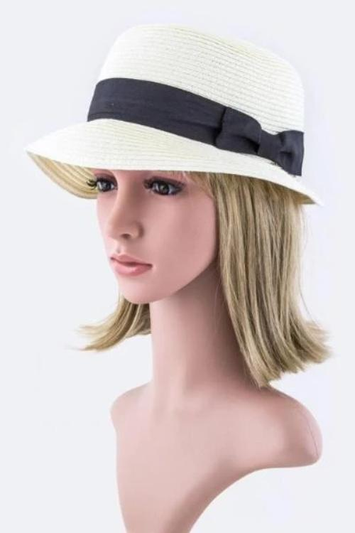 Grossgrain Fashion Straw Hat Ivory