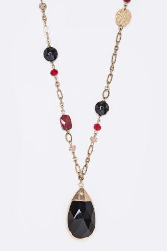 Mix Charms & Crystal Teardrop Necklace Set Red