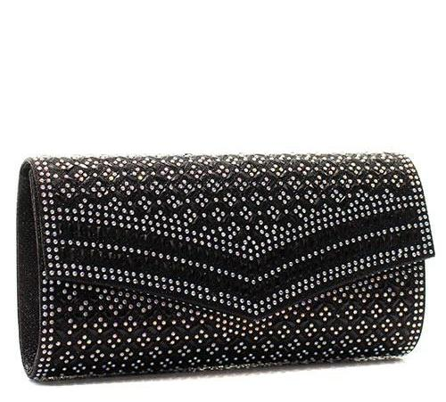 Decorative Rhinestone Clutch Black