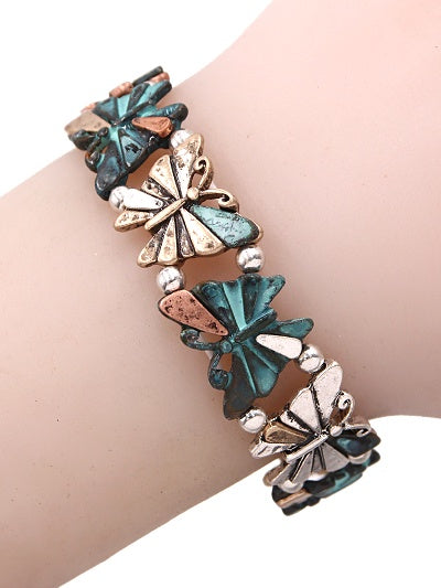 Butterfly Stretch Bracelet Patina