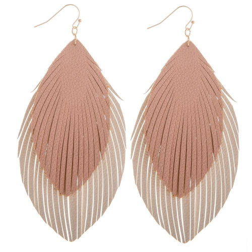 Layered Double Feather Earrings Pink/Ivory