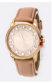 Baguette Crystal Bezel Leather Watch Beige