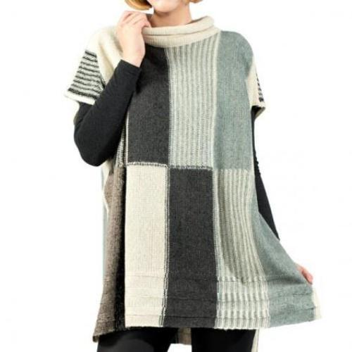 Multi Color Block Poncho