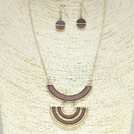 Two Tone Wood Necklace Set Gold