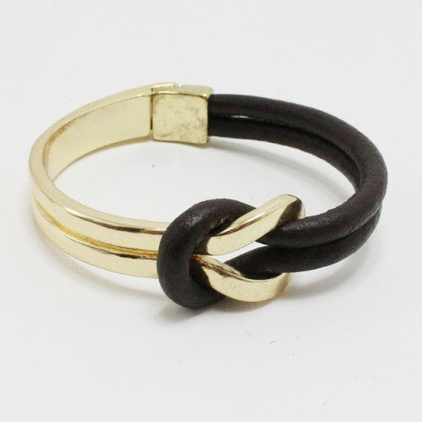 Metal and Leather Cord Bangle Bracelet
