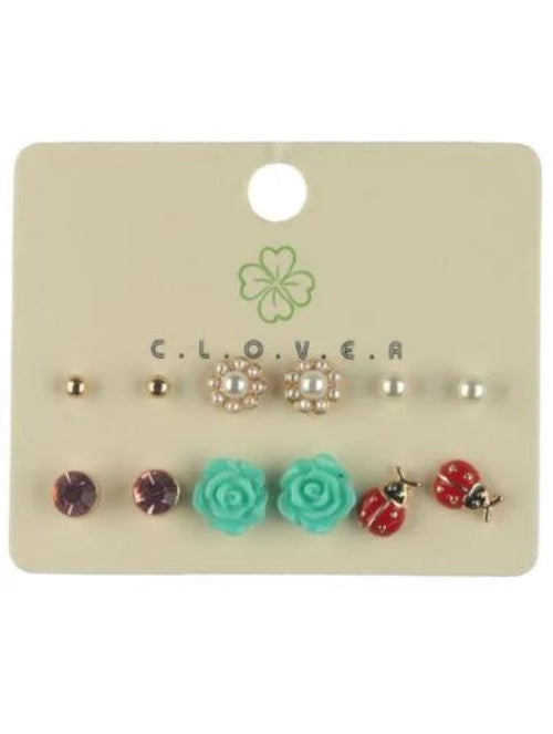6 Pairs of Stud Earrings - Multiple Styles