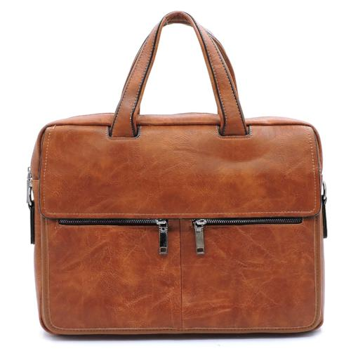 Double Zip Front Briefcase/Laptop Case Brown
