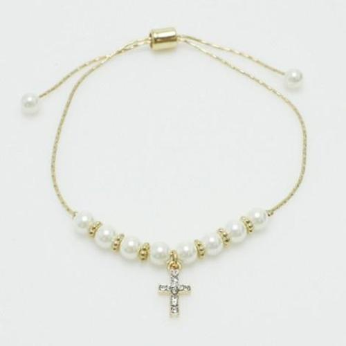 Cross Bracelet with Pearl Accents Gold