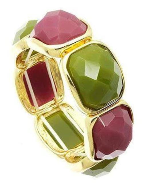 Faceted Homaica Stone Stretch Bracelet