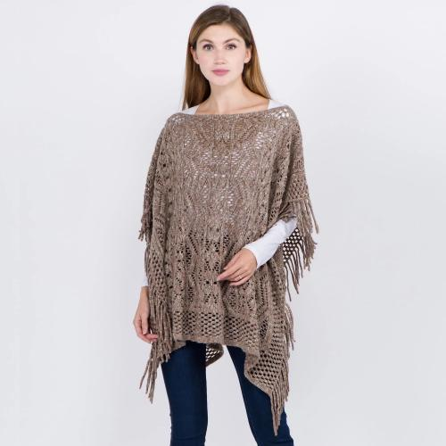 Mix Tones Knit Poncho with Fringe Taupe