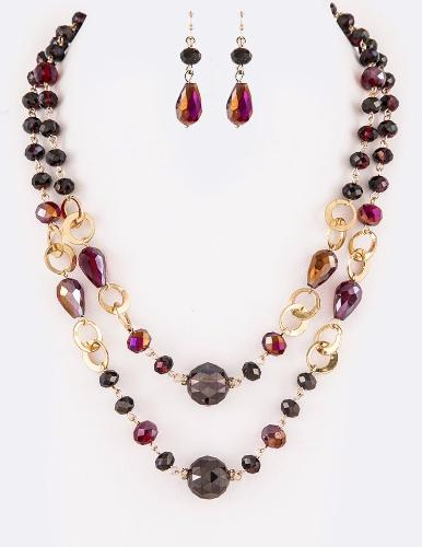 Crystal Layered Classy Necklace Set Red