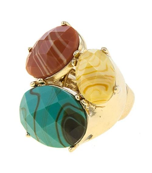 Three Clustered Oval Faux Stone Stretch Ring
