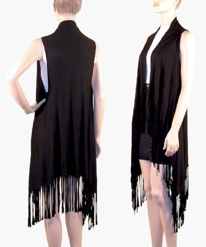 Suede-Feel Fringed Vests Black