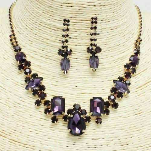 Rhinestone Necklace Special Occasion Necklace Set Gold/Purple