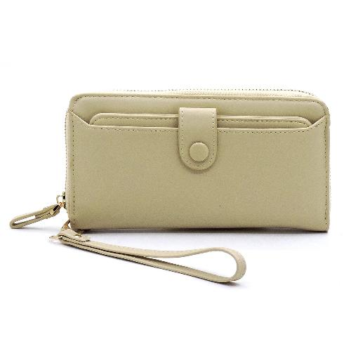Zip Around Card Holder Wallet/Wristlet Beige