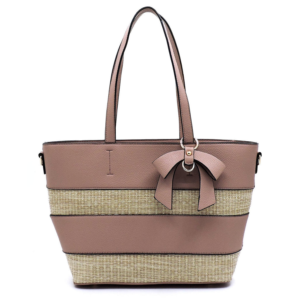 Straw Colorblock Stripe Shopper with Bow Accent Mauve