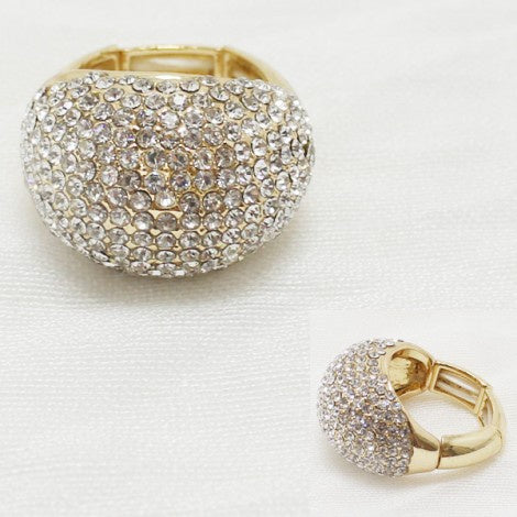 Rhinestone Cluster Stretch Ring Gold