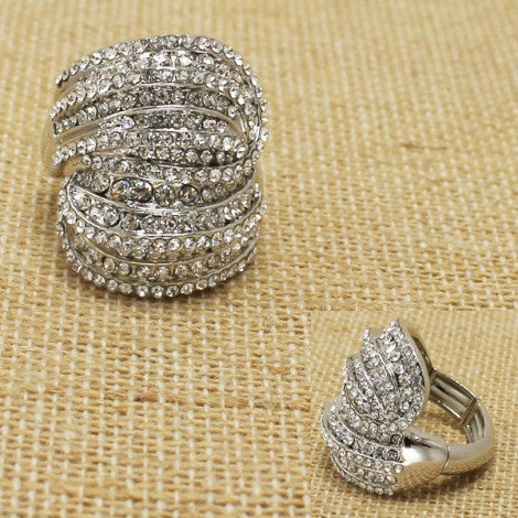 Stacked-look Stretch Rhinestone Ring Silver
