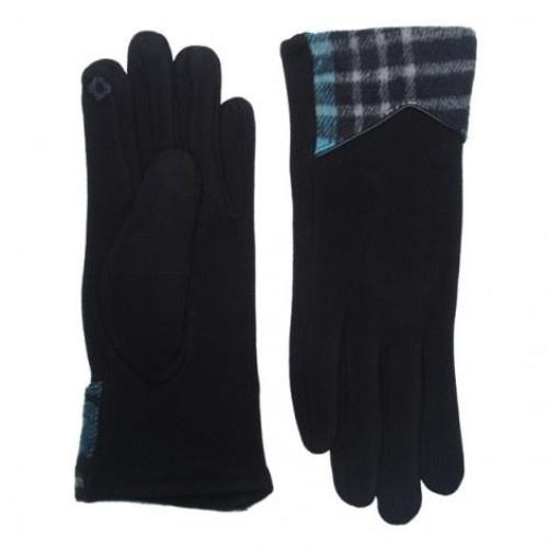 Plaid Edge Texting Gloves Navy