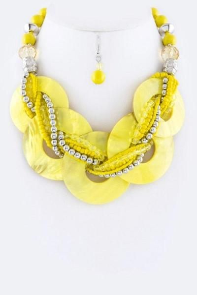 Swirl Enamel Collar Necklace Set Yellow
