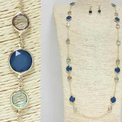 Glass Stone Necklace Set Shades of Blue