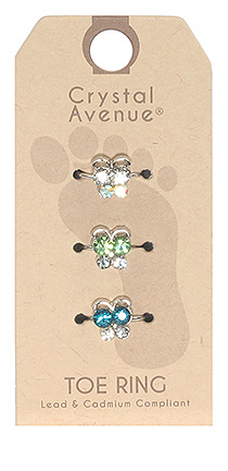3 Piece Crystal Toe Ring Set - Butterflies Blue