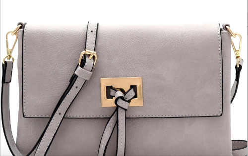 Knot-Accent Flap-Over Crossbody Light Grey