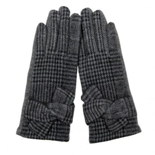 Plaid Smart Glove with Knot Grey
