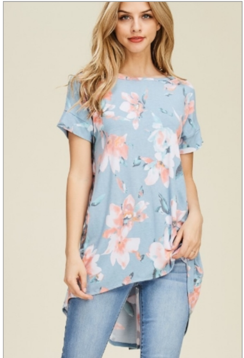 Floral Print Crisscross Back Detail Hi-Low Top