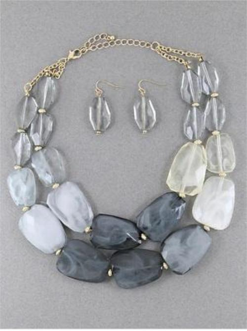 Uneven Shape Opaque Bead Statement Necklaces Set