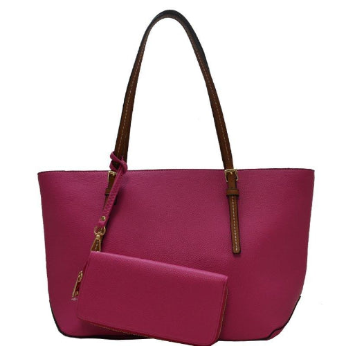 2-in-1 Fashion Satchel/Tote Fuchsia