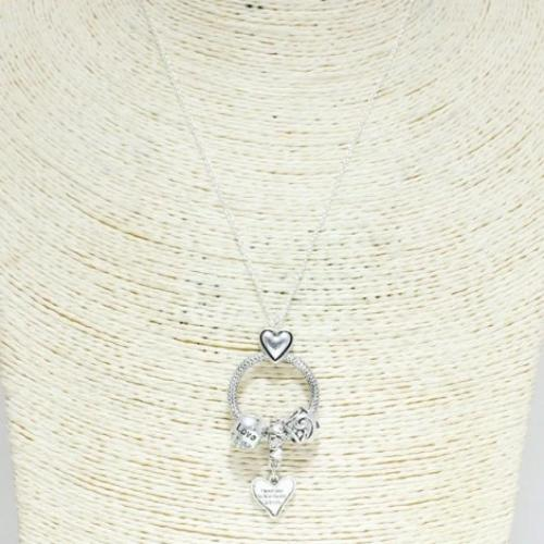 Antique Silver Pendent Necklace Heart
