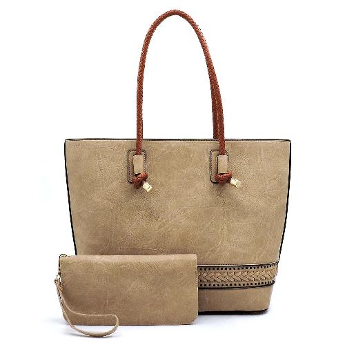 Braided Whipstitch 2-in-1 Shopper & Wallet Set Sand