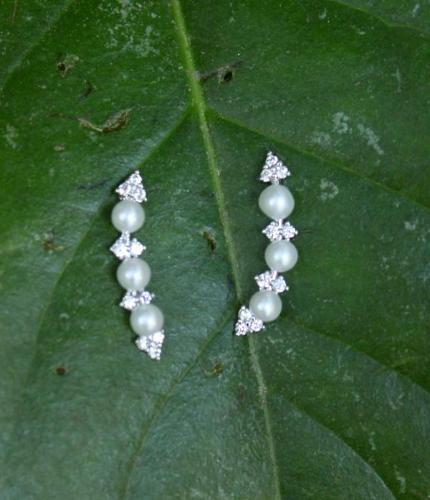 Pearl and CZ Hook Earrings