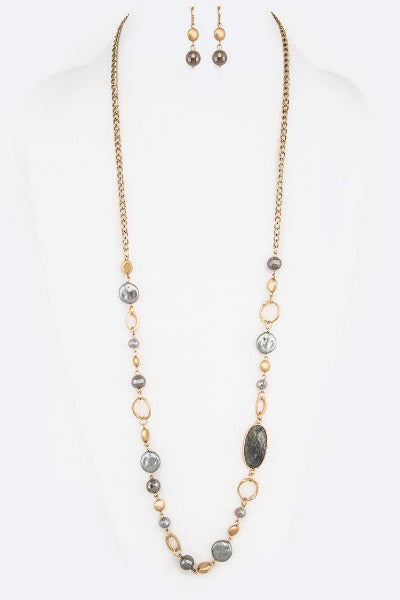 Mix Beads Station Long Necklace Set Grey