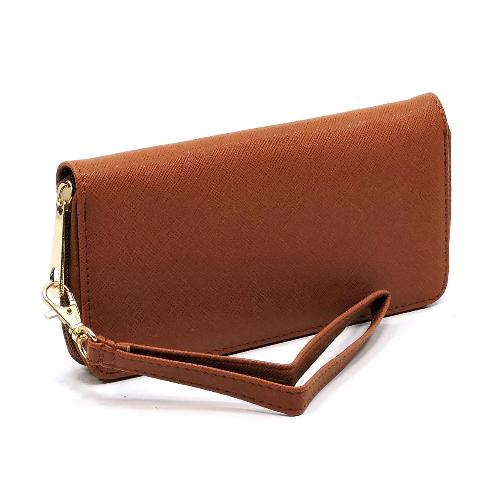 Texture Zip Around Clutch Wallet