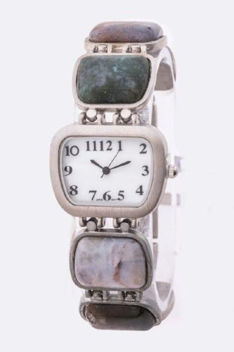 Mixed Stone Bracelet Watch Green
