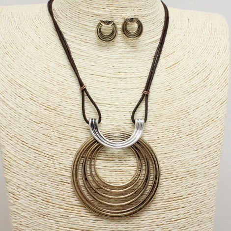 Antique Gold, Silver & Brown Necklace Set