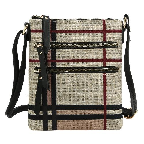 Plaid/Check Linen Crossbody Taupe