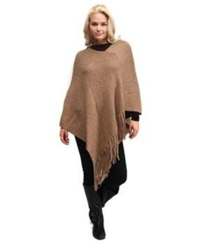 Solid Knitted Plaid Diagonol Cut Poncho with Fringe Beige