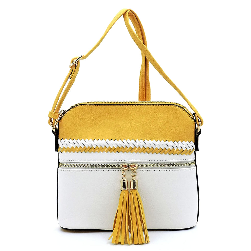 Colorblock Whipstitch Tassel Zipper Crossbody Yellow