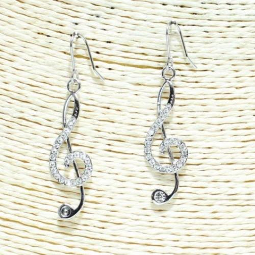 Music Note Earrings Silver