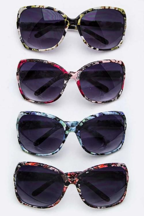 Floral Print Butterfly Sunglasses