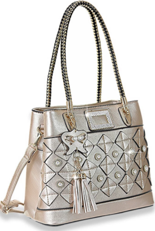 Decorative Tassel Accented Handbag Gold