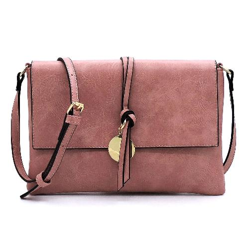 Flap Over Crossbody/Clutch Rose Pink