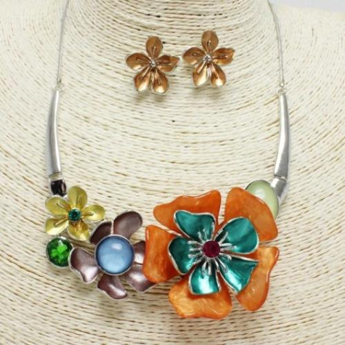 Multi Flower Necklace Set Multiple Colors