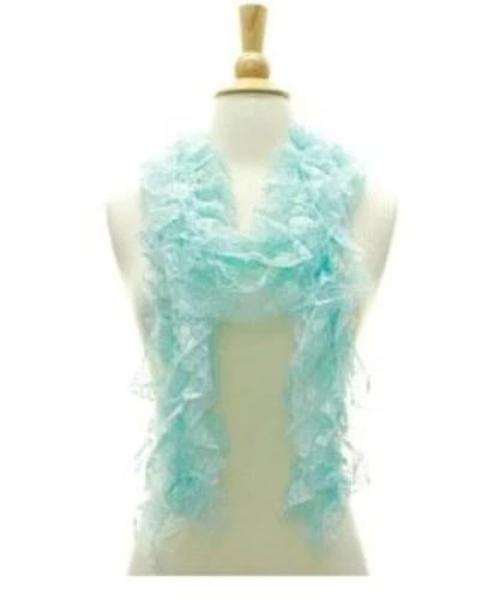 Fashion Faux Satin Floral Lace Spring Scarf Aqua
