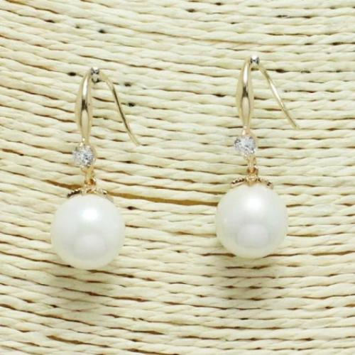 Pearl & Rhinestone Earrings Gold