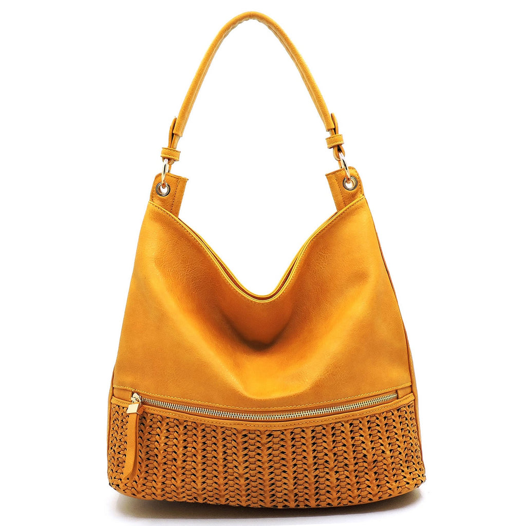 Woven Panel Block Shoulder Bag Mustard