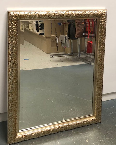Ornate Embossed Silver/Gold Tone Framed Mirror